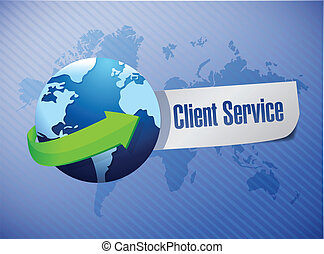 globe client service sign illustration design over a world...