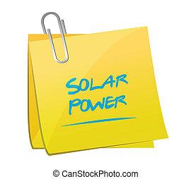 solar power memo post illustration design over a white...