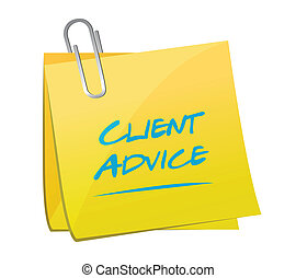 client advice memo post illustration design over a white...