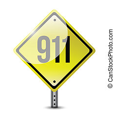 911 sign illustration design over a white background