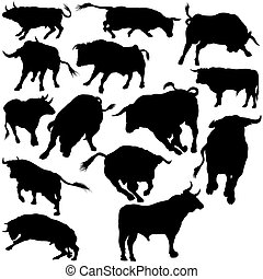 Bull Set Silhouettes 2 - black hand drawn illustration