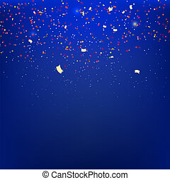 Streamers on a blue background with reflections. Vetkornaya...