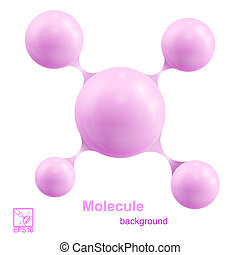 Pink molecule isolated on white background. Vector illustration.