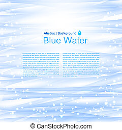 Blue water background with reflections. Vector illustration.