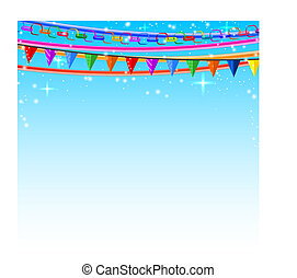 Colorful lace, pins, chains, garlands on a blue background....