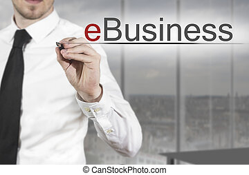 businessman writing ebusiness - businessman in office...
