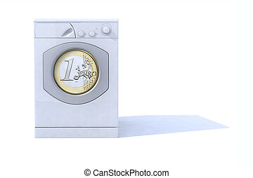 whasing machine saving energy 3d illustration