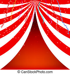 Background circus poster with serpnatinom and confetti. Vector i