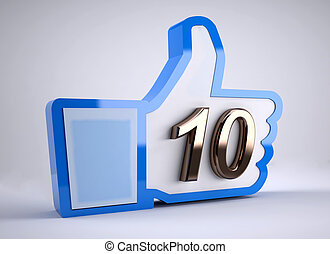 like button with number 10, 3d illustration