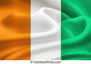 flag of Ivory Coast waving in the wind Silk texture pattern