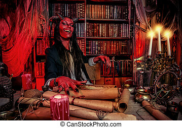 satan diablo - Horned Devil in his home Fantasy Ancient...