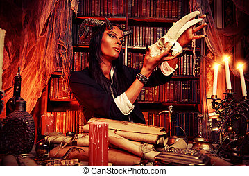 manuscripts - Horned Devil in his home. Fantasy. Ancient...