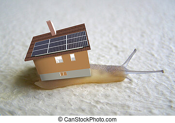 snail with solar panels illustration