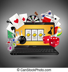 Video games concept - Video gambling games concept with...