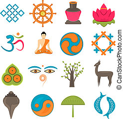 Buddhism icons set - Buddhism church traditional symbols...