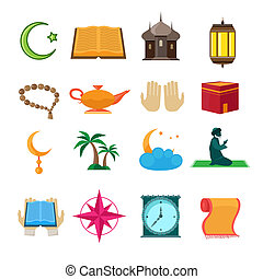 Islam icons set - Islamic church traditional symbols icons...