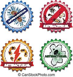 Antibacterial badges set