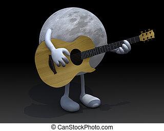 Guitarra, pernas, tocando, braços, lua