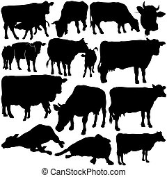 Cow Set Silhouettes 1 - black hand drawn illustration
