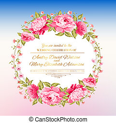 Peony garland - Peony garland for holiday card Vector...