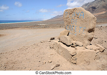 Sign for Playa de Cofete, Canary Island Fuerteventura, Spain