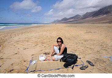 Picnic on the beach Playa de Cofete, Canary Island...