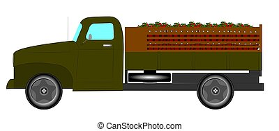 vintage farm truck - truck delivering load of apples to...