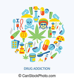 Drugs icons flat - Abuse addictive poison mushroom drugs...