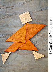 tangram running figure - abstract of a dancing, running or...