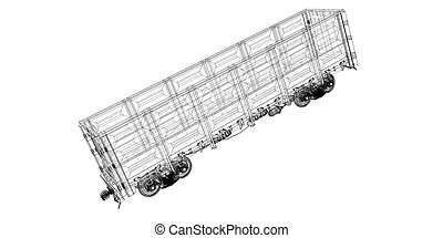 Goods Vagon , railway carriagebody structure, wire model