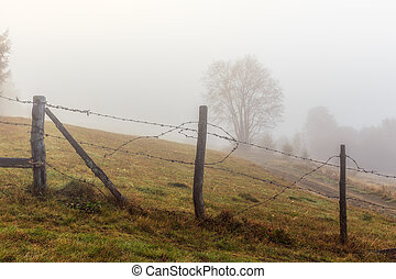 Foggy morning in Transylvania,Romania