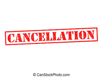 CANCELLATION red Rubber Stamp over a white background