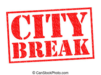 CITY BREAK red Rubber Stamp over a white background.