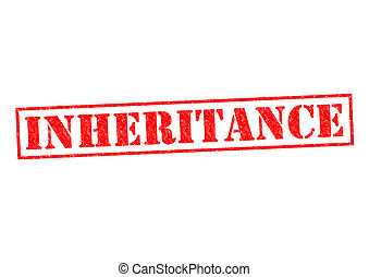 INHERITANCE red Rubber stamp over a white background