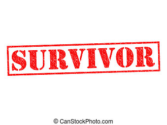 SURVIVOR red Rubber Stamp over a white background.