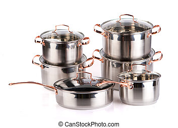 Stainless steel cooking pots - steel pots isolated on a...