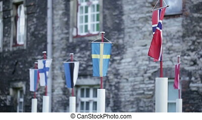 Flags of Baltic states - On racks flags of Baltics and...