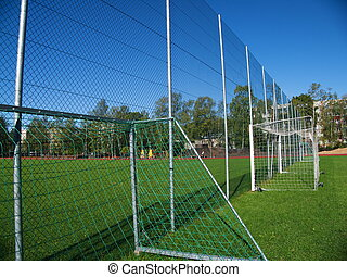Goal net on football stadium in school