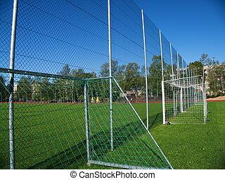 Goal net on football stadium in school