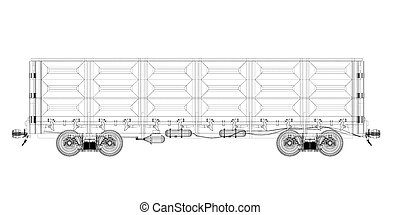 Goods Vagon , railway carriage, body structure, wire model