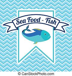 Fish design over blue background,vector illustration