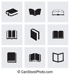 Vector black schoolbook icons set on grey background