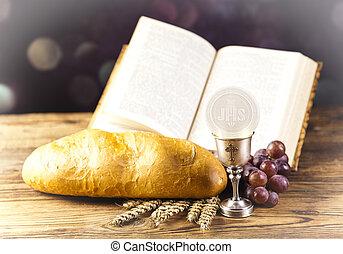 santissimo, comunhão, pão, vinho