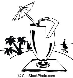 Black and white tropical landscape - Glass with an umbrella...