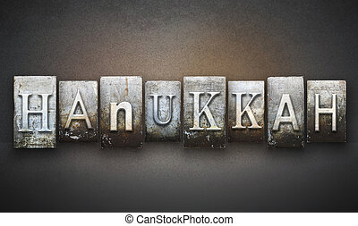 Hanukkah Letterpress - The word HANUKKAH written in vintage...
