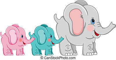 Mother and babies elephants - Scalable vectorial image...