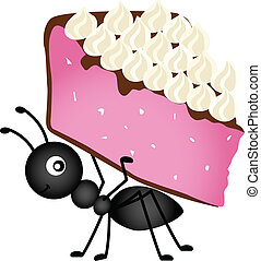 Ant carrying slice cake - Scalable vectorial image...