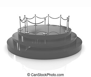 3D glossy podium with gold handrail on a white background