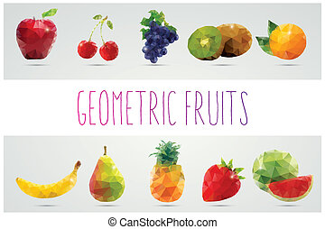 Polygonal Fruits - Collection of geometric polygonal fruits,...