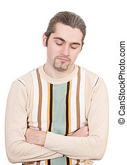 Disappointed young handsome man in sweater isolated - Young...